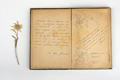 Poetry. An old book with notes,poems, a nd thoughts, of the early 1900s, Art Neauveau Stock Photo