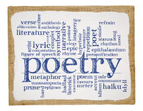 Poetry word cloud on art canvas. Poetry word cloud - handwriting on a stretched and primed burlap art canvas royalty free stock photos