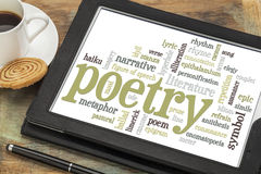 Poetry word cloud. On a digital tablet with cup of coffee royalty free stock images