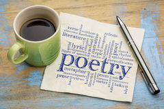 Poetry word cloud on napkin with coffee Royalty Free Stock Photo
