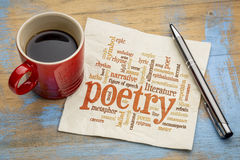 Poetry word cloud on napkin Royalty Free Stock Photography