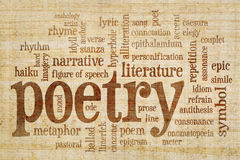 Poetry word cloud on papyrus paper Royalty Free Stock Photography