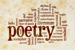 Poetry word cloud on vintage paper Stock Image