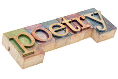 Poetry word in letterpress wood type Stock Photography