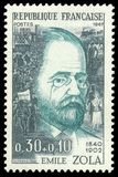 Poets and writers, Emile Zola. France - stamp printed in1967, Famous people, Poets and writers, Emile Zola Royalty Free Stock Photography