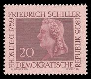 Poets and writers, Friedrich Schiller. GDR - stamp printed 1959, Memorable color edition offset printing, Topic Famous Personalities, Series poets and writers Royalty Free Stock Photography