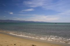 Poetto beach. Cagliari with the Fratelli mountains in the distance Stock Image