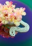 Pofałdowany, fałdowy gladiolus, jest na odzwierciedla stół Zdjęcie Stock