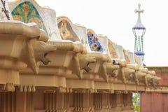 Pofalowana ławka w Parkowym Guell obrazy royalty free