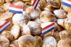 poffertjes顶上的看法用搽粉的软的糖 库存图片