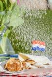 Poffertjes holandeses tradicionales Fotos de archivo libres de regalías