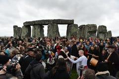Poganie i druidzi Zaznaczają zimy Solstice przy Stonehenge Obraz Royalty Free