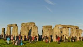 Poganie Zaznaczają jesieni równonoc przy Stonehenge Zdjęcia Stock