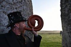 Poganie Zaznaczają jesieni równonoc przy Stonehenge Zdjęcia Royalty Free