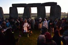 Poganie Zaznaczają jesieni równonoc przy Stonehenge Obraz Stock