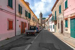 POGGIO, ELBA ISLAND, ITALY - SEPTEMBER 16, 2018: Small street with colorful houses in a town Poggio, Elba island stock images