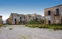 Poggioreale buildings. Abandoned ruined buildings of the town of Poggioreale, Sicily. Earthquake damage stock images