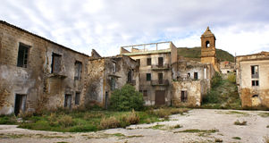Poggioreale ruins. The square and tower bell in poggioreale destroyed from the earthquake of 1968 royalty free stock photos
