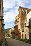 Poggioreale ruins, avenue. Church and bell tower in main street in poggioreale, destroyed from the earthquake of 1968 stock photography