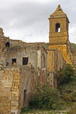 Poggioreale ruins, bell tower. Poggioreale after the earthquake of 1968, perron and walls with grass and plants in bottom the bell tower royalty free stock images