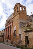 Poggioreale ruins, church. Church and bell tower in main street in poggioreale, destroyed from the earthquake of 1968 stock photo