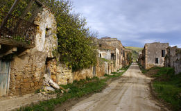 Poggioreale ruins, the main street. Those that remains of the main street destroyed from the earthquake of 1968 stock photography
