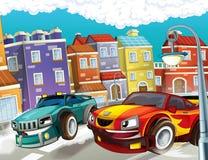 Pogoń, pędzący samochód - ilustracja dla dzieci Fotografia Royalty Free