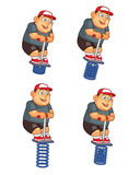 Pogo Jumping Fat Boy Animation Sprite. Cartoon Illustration of Fat Boy Animation Sprite for game Stock Image
