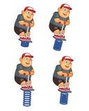 Pogo que salta la animación gorda Sprite del muchacho Imagen de archivo