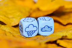 Pogoda pokazywać na kostka do gry pogodzie jesień Zdjęcie Royalty Free
