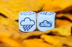 Pogoda pokazywać na kostka do gry pogodzie jesień Obraz Royalty Free
