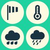 pogoda stanie ikony Kolekcja flaga, temperatura, Douche I Inni elementy, Także Zawiera symbole Tak jak prysznic, Gorąca Obrazy Stock