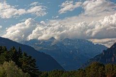 Pogoda sztormowa nad Glarus Alps od Thusis, szwajcar fotografia royalty free