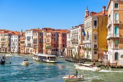 Pogodna panorama kanał grande w Wenecja Zdjęcie Royalty Free