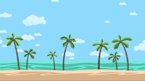 Pogodna plaża z palmami i chmurnym skyscape Animowany tło Płaska animacja ilustracja wektor