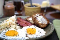 Pogodna strona w górę jajecznego śniadania Obrazy Royalty Free