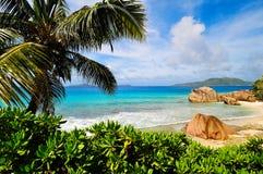 Pogodna tropikalna plaża Obrazy Royalty Free