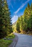 Pogodne góry drogowe w Tatras w jesieni, Polska Zdjęcie Stock