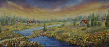 Pogodni domy z czerwonymi dachami w kwiatu polu Most, rzeka wieśniacy lasu obraz olejny krajobrazowa rzeka ilustracja wektor