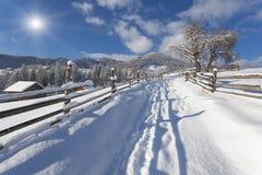 Pogodny krajobraz w górskiej wiosce Obraz Stock