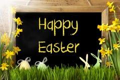 Pogodny narcyz, jajko, królik, tekst Szczęśliwa wielkanoc Zdjęcie Royalty Free
