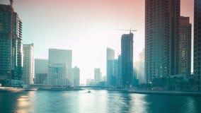 Pogodny podpalany Dubai marina 4k czasu upływ zdjęcie wideo