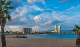 Pogodny spadku dzień w Barceloneta zdjęcia royalty free