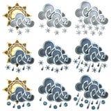 Pogodowe ikony - 2 Obrazy Stock