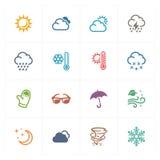 Pogodowe ikony - Barwione serie Obraz Stock
