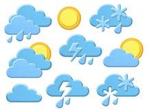 Pogodowe ikony, chmury, deszcz, słońce Obraz Stock