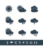 Pogodowe ikony czarny i biały Fotografia Stock