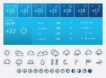 Pogodowe ikony i widget Zdjęcie Stock