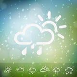 Pogodowe ikony na Wodnych kropel podeszczowym tle Obraz Royalty Free