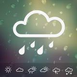 Pogodowe ikony na zamazanym Wodnym kropli tle Zdjęcia Royalty Free